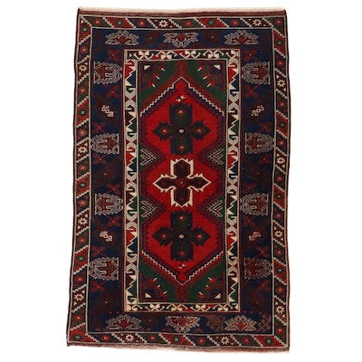 4'0 x 6'2 Hand-Knotted Turkish Village Rug, 1980s