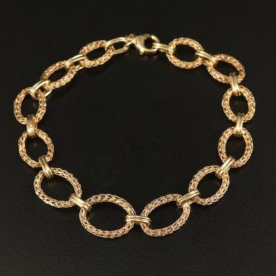 14K Mesh Oval Link Bracelet