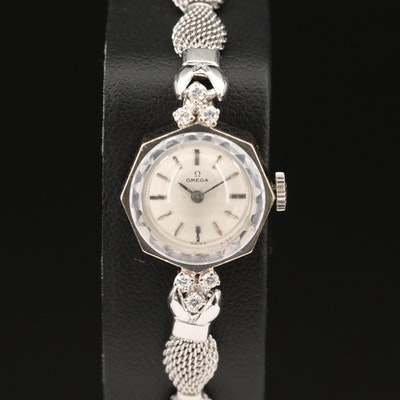 Vintage Omega 14K White Gold Diamond Wristwatch