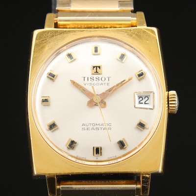 Vintage Tissot Seastar Visodate Gold Plated Automatic Wristwatch