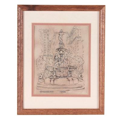 Rookwood Pottery Earl Menzel Recast Plaque of Tyler Davidson Fountain, 1990
