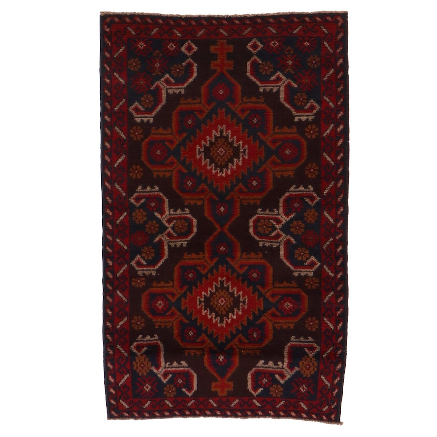 2'8 x 4'5 Hand-Knotted Afghan Baluch Accent Rug