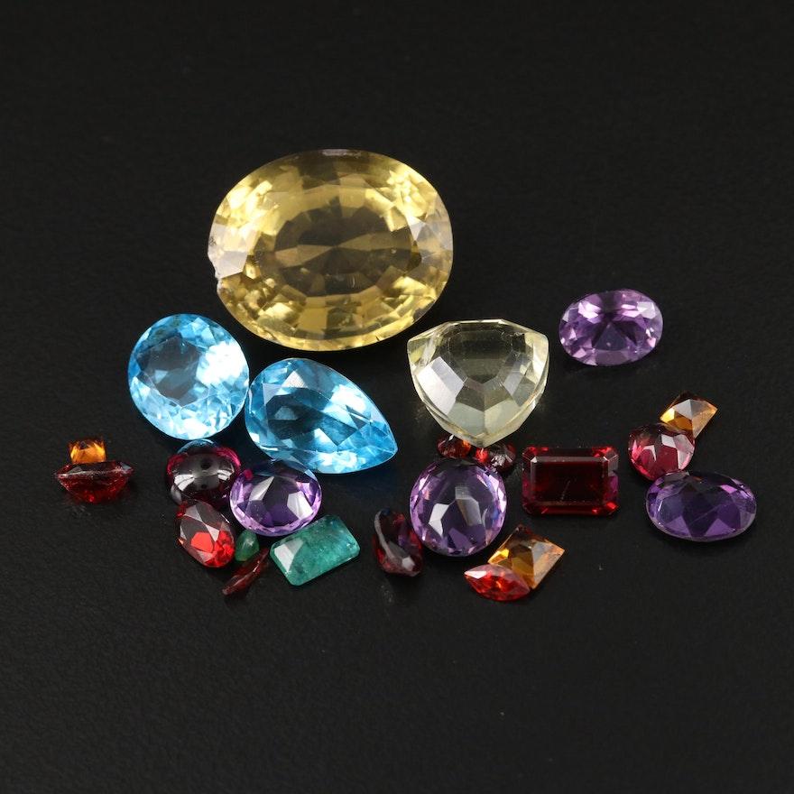 Loose 41.40 CTW Citrine, Amethyst, Topaz and Additional Gemstones