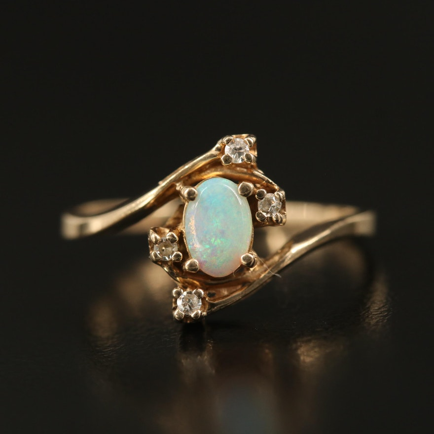 10K Opal and Diamond Bypass Ring