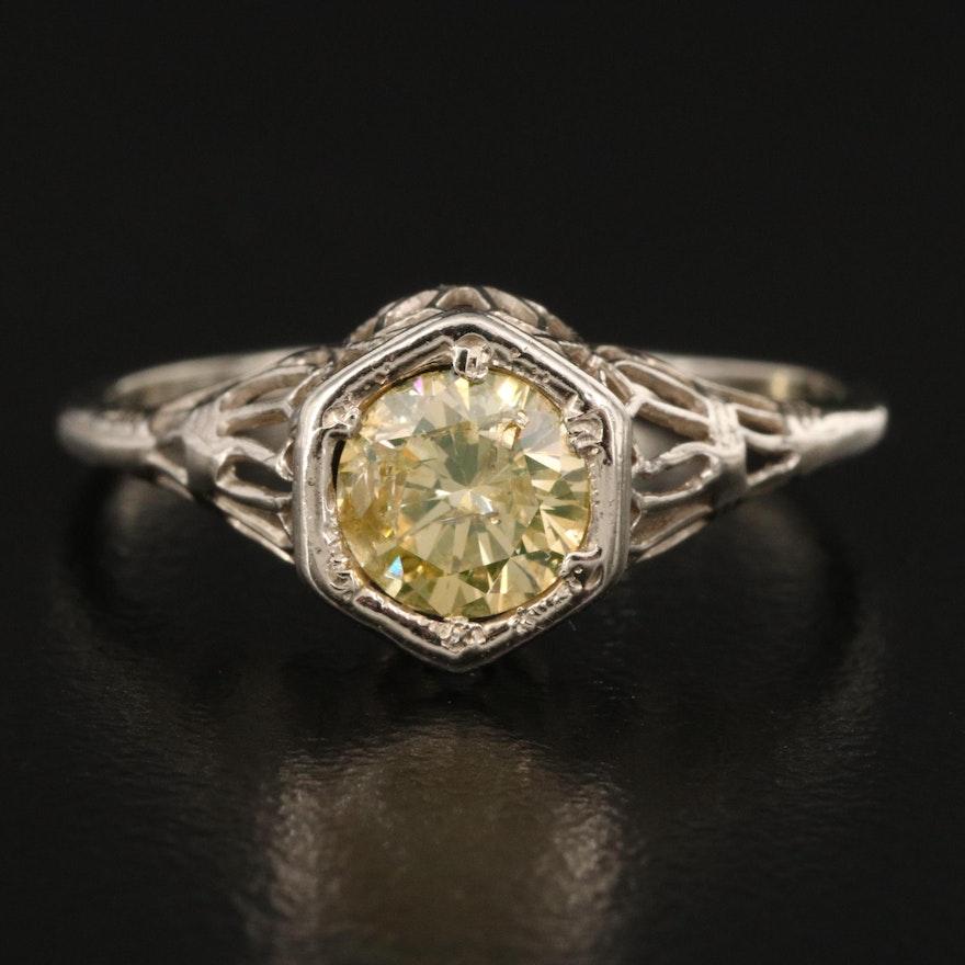 Edwardian 14K Diamond Hexagon Ring