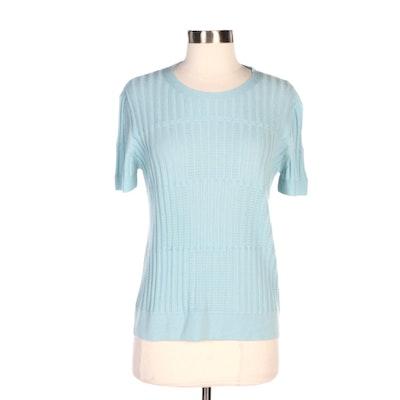Giorgio Armani Blue Ribbed and Eyelet Cashmere Knit Short Sleeve Sweater