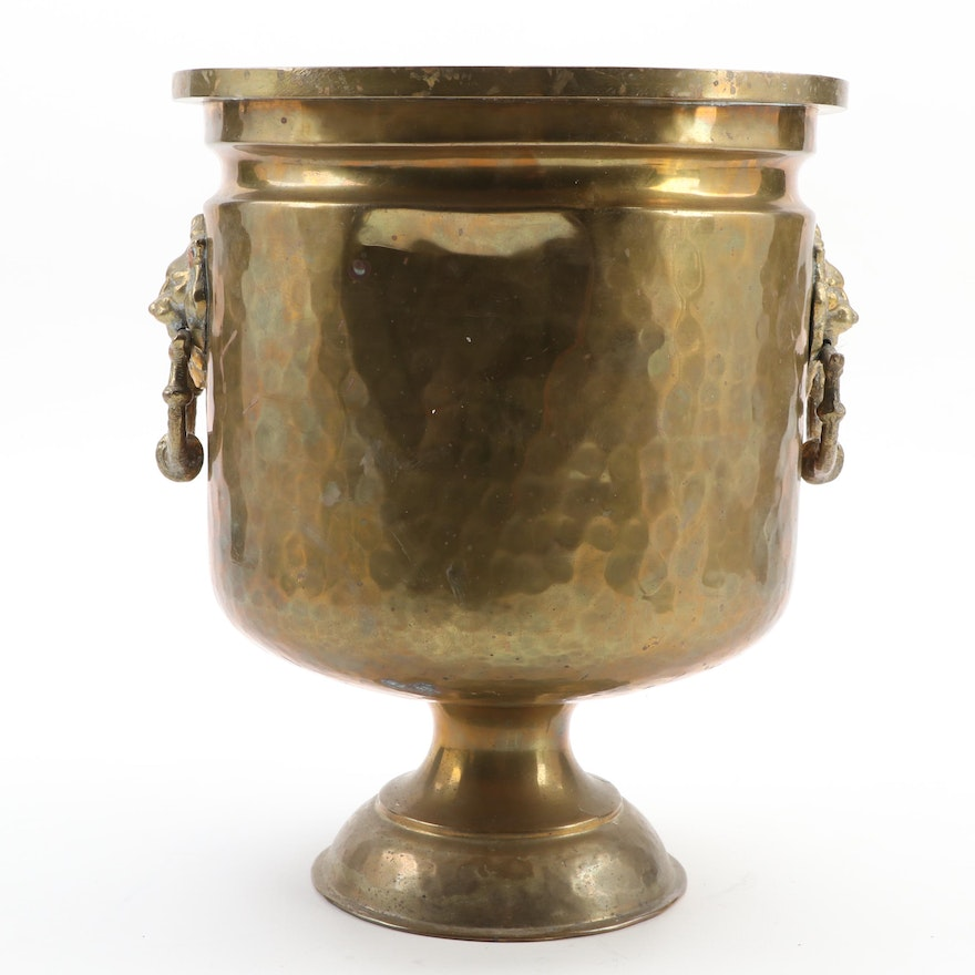 Imperial Russian Hammered Brass Jardinière with Lion Head Motif