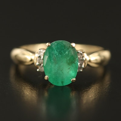 14K 2.00 CT Emerald and Diamond Ring