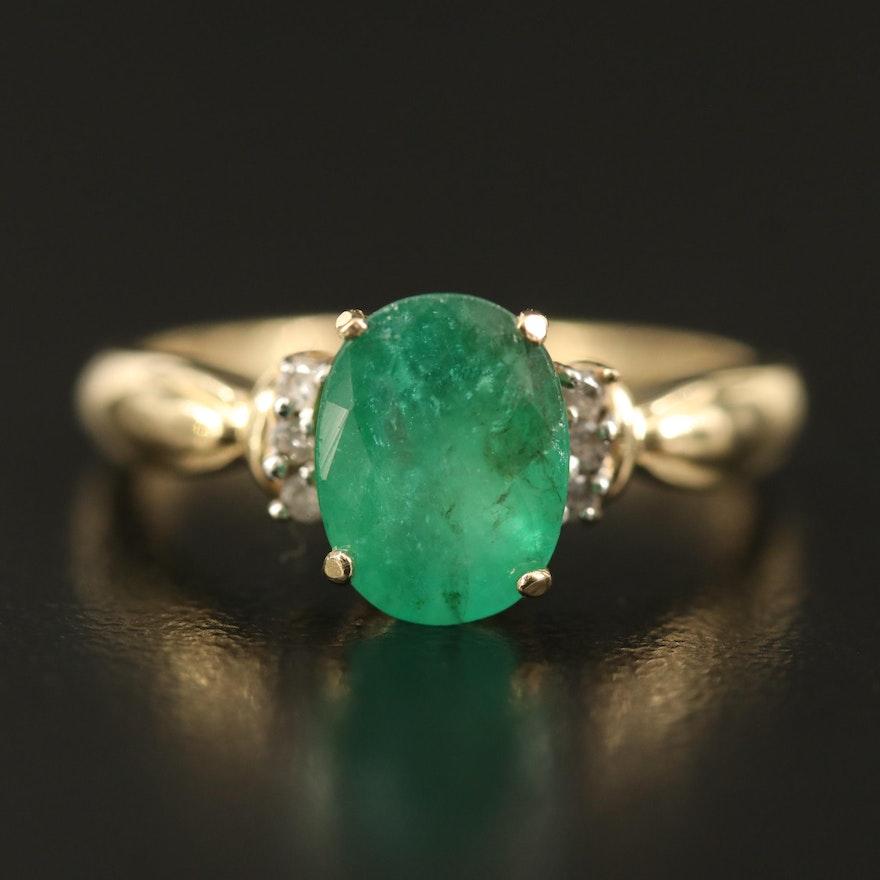 14K 2.00 CT Emerald and Diamond Ring
