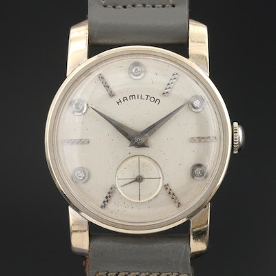 Hamilton 14K Wristwatch with Diamond Dial