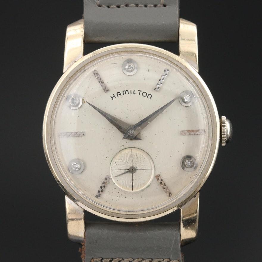 Hamilton 14K Wristwatch with Diamond Dial