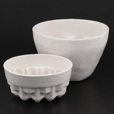 French White Glazed Ceramic Pudding Molds