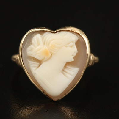 10K Helmet Shell Heart Cameo Ring