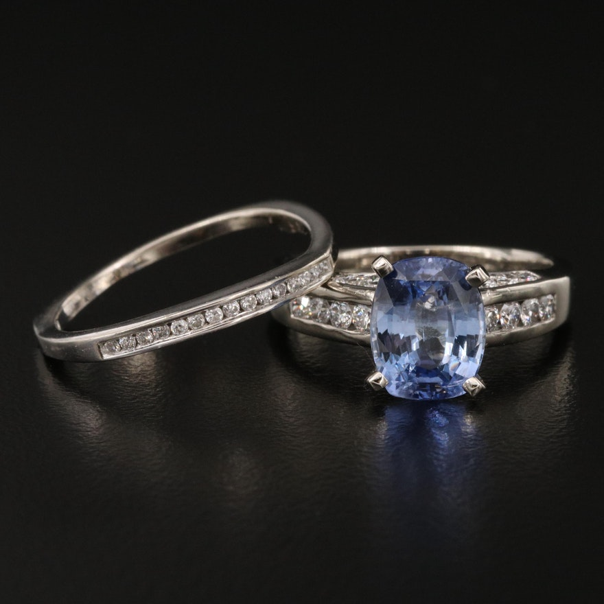 14K 3.52 CT Sri Lankan Sapphire and Diamond Ring with GIA Report and Scrap Band
