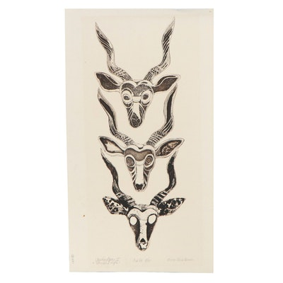 "Sheila Bonser Relief Collagraph ""Vanishing Species V,"" 1979"