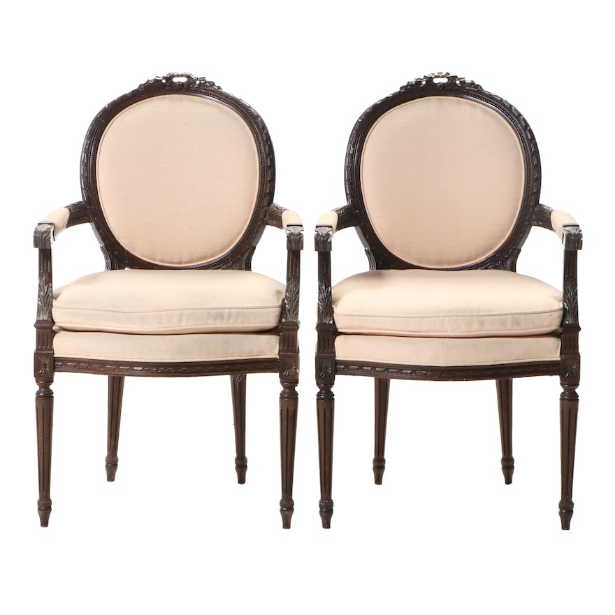 Pair of Lenoir Chair Co. Louis XVI Style Walnut Stained Fauteuils