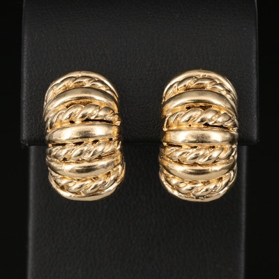 14K Half-Hoop Clip Earrings with Twisted Wire Detail