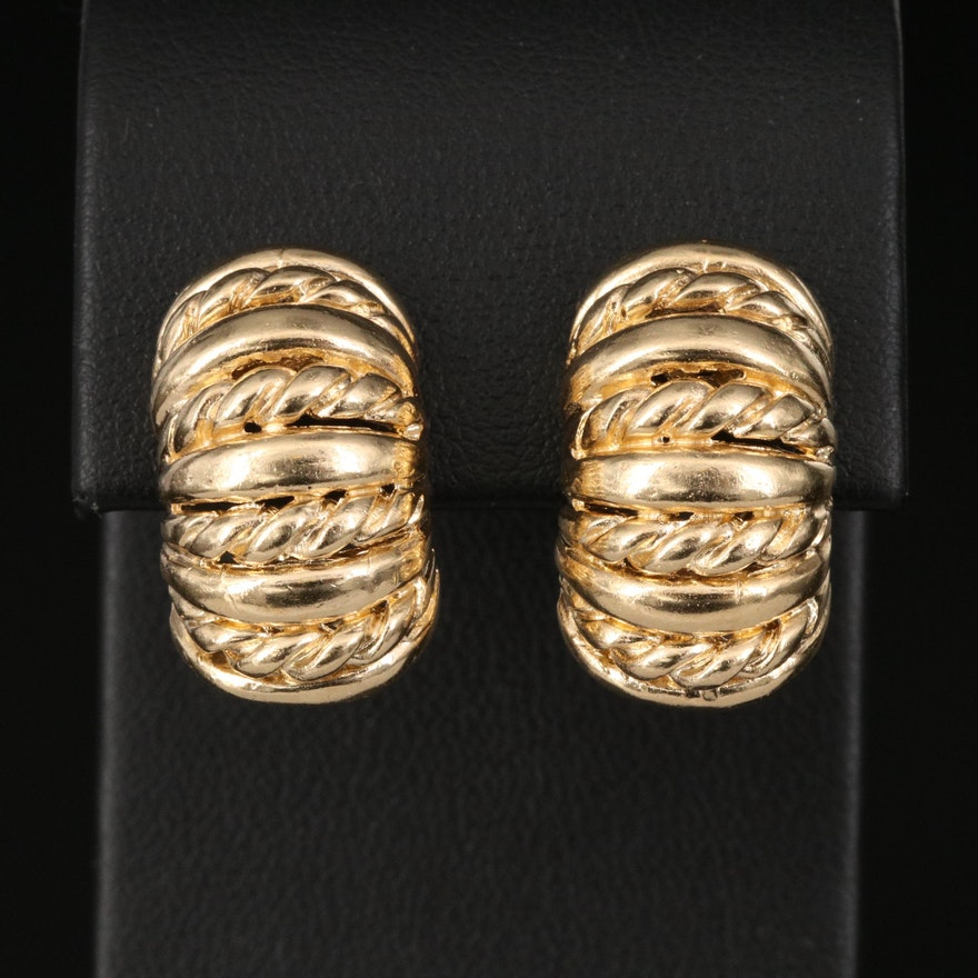 14K Half-Hoop Clip Earrings with Twisted Wire Detail