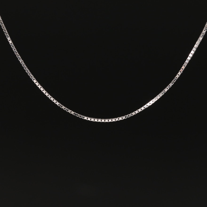 14K White Gold Box Link Necklace