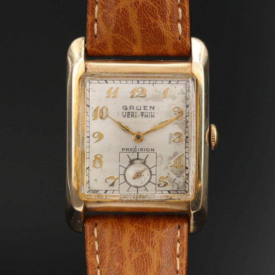 Vintage Gruen Veri-Thin Gold-Filled Stem Wind Wristwatch