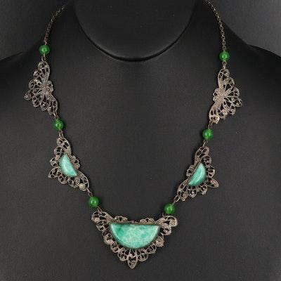 1930s Czech Peking Glass Lavalier Necklace