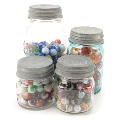 Swirl, Opaque, Glass Playing Marbles in Ball, Kerr, and Other Glass Jars