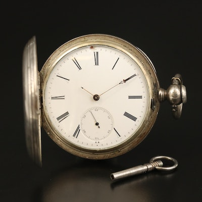 Antique Coin Silver Hunting Case Pocket Watch