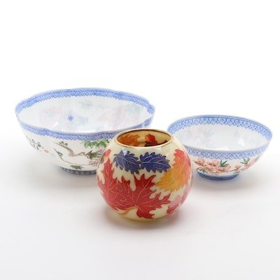 Chinese Jingdezhen Eggshell Porcelain Bowls with Bill Yee Plique-à-Jour Votive