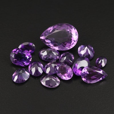 Loose 34.13 CTW Oval and Pear Faceted Amethyst