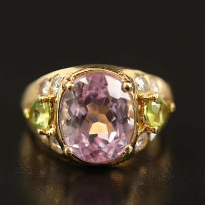 18K Kunzite, Peridot and Diamond Ring
