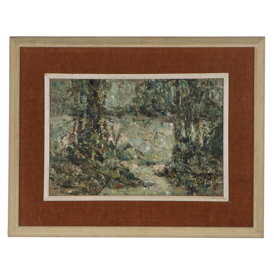 Expressionist Style Landscape Oil Painting, Mid-20th Century