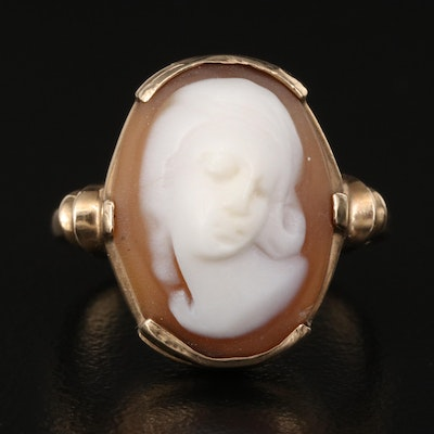 Vintage 10K Shell Cameo Ring