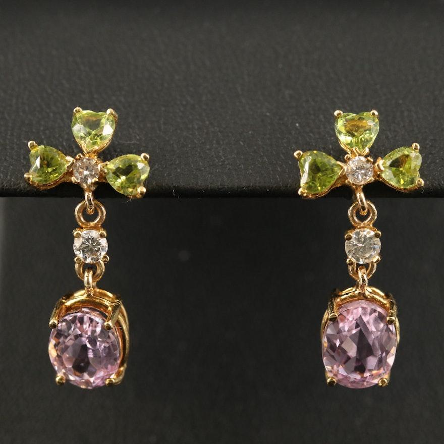 18K Kunzite, Peridot and Diamond Drop Earrings