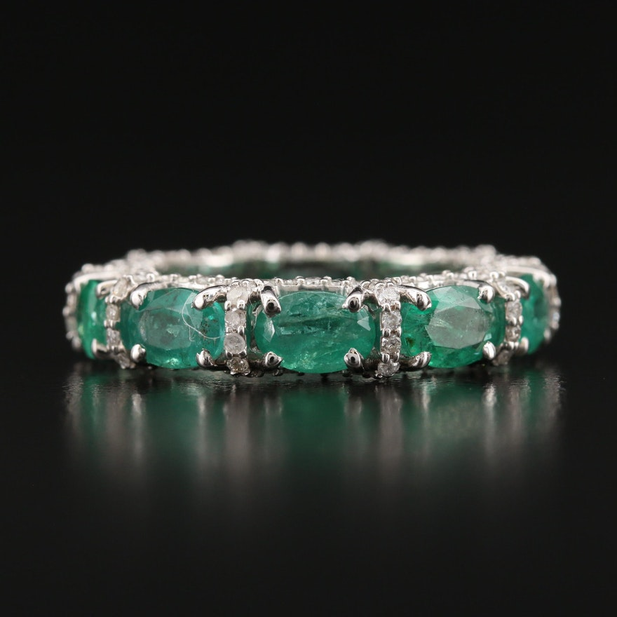 18K Emerald and 1.00 CTW Diamond Eternity Band with Scalloped Detail