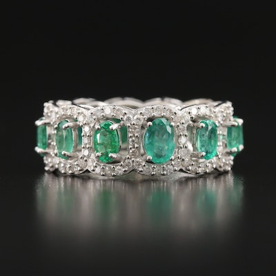18K Emerald and 1.29 CTW Diamond Eternity Band