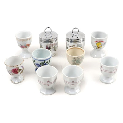 Royal Worcester Porcelain Egg Coddlers and Assorted Egg Cups