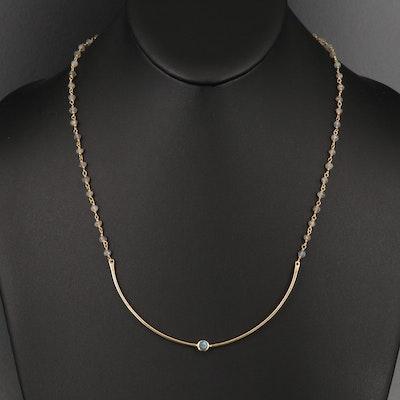 Sterling Labradorite Station Necklace