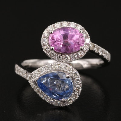 14K 2.56 CTW Sapphire and Diamond Bypass Ring