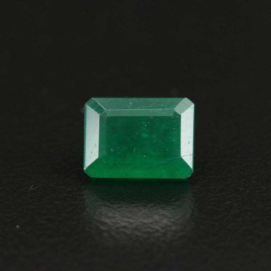 Loose 1.83 CT Cut Cornered Rectangular Faceted Emerald