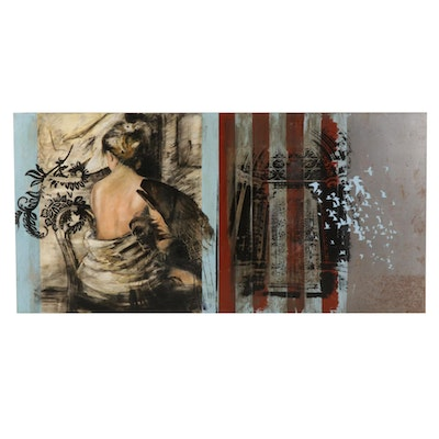 Mixed Media Painting of Female Portrait and Architectural Composition