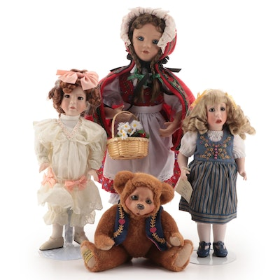 "Ashton-Drake ""Little Red Ridding Hood"" with Other Fairy Tale Porcelain Dolls"