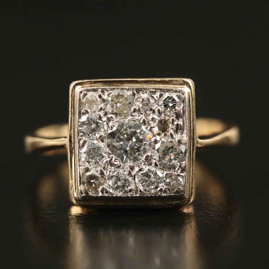 14K Square Diamond Cluster Ring