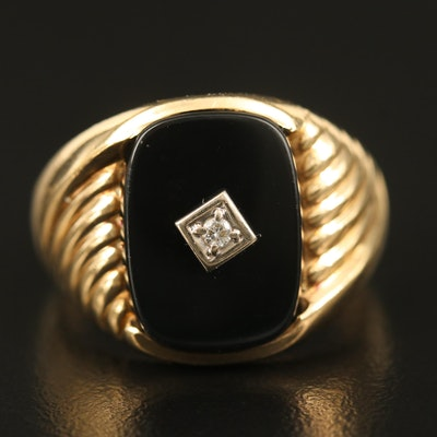 10K Diamond and Black Onyx Ring with Fluted Detail