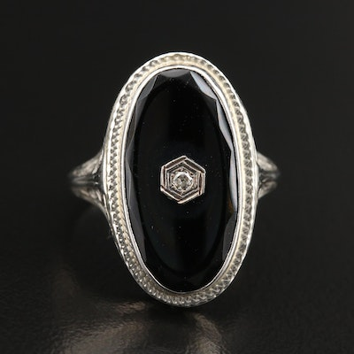 1930s 18K Black Onyx and Diamond Ring