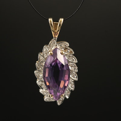 10K Amethyst and Diamond Marquise Pendant