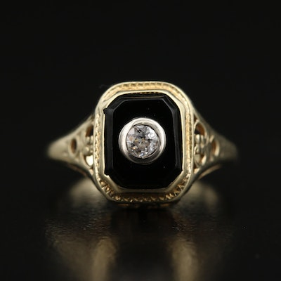 Art Deco 14K Diamond and Black Onyx Ring with 18K Detail