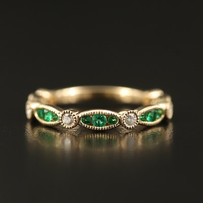 14K Emerald and Diamond Band