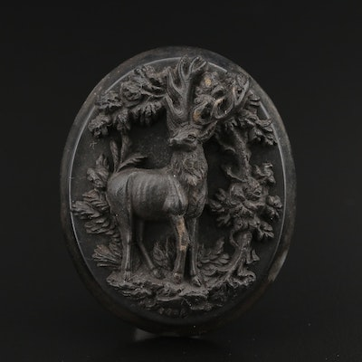 Victorian Pressed Horn Stag Converter Brooch