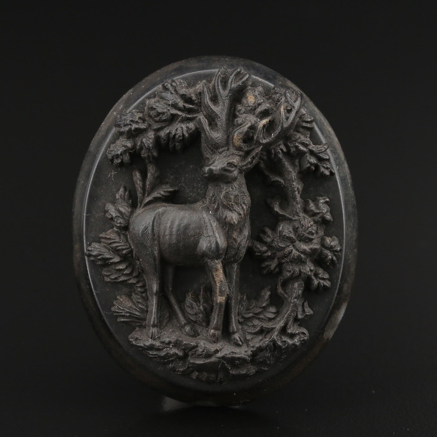 Victorian Pressed Horn Stag Converter Brooch
