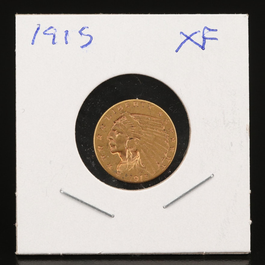 1915 Indian Head $2.50 Quarter Eagle Gold Coin